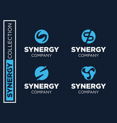 modern professional set logos synergy for vector image