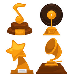 music awards note and vinyl disc star and vector image