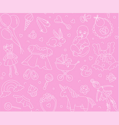 Newborn girl baby shower seamless pattern thin vector