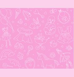 newborn girl bashower seamless pattern thin vector image