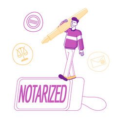 Notary worker stand on huge rubber stamper vector