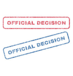 Official decision textile stamps vector