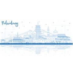 Outline palembang indonesia city skyline vector