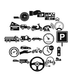 Parking icons set simple style vector