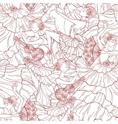 Pattern with tango and flamenco dancers vector image