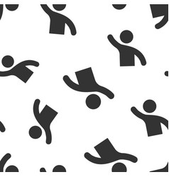 People greeting with hand up icon seamless vector