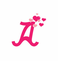 pink a initial letter with love sign valentine vector image
