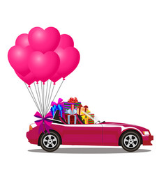 pink cartoon cabriolet car with presents and vector image