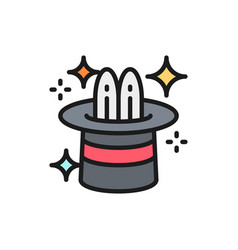 rabbit in magic cylinder hat circus flat color vector image
