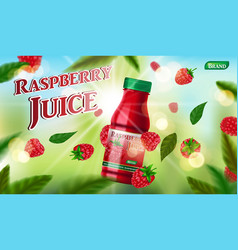 raspberry juice bottle template for package design vector image