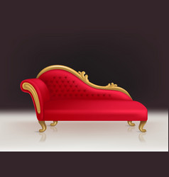 Realistic luxurious red velvet sofa couch vector