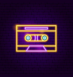 Retro cassette neon sign vector