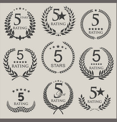 retro laurel wreath five stars rating design vector image