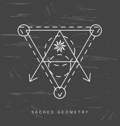 sacred geometry sign on black grunge background vector image