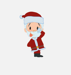 Santa claus sticks out his tongue in gesture of vector