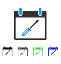 Screwdriver tuning calendar day flat icon vector