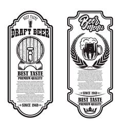 set beer flyers with hop and beer mug design vector image