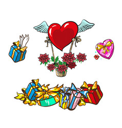 Set boxes with gifts and basket with winged heart vector