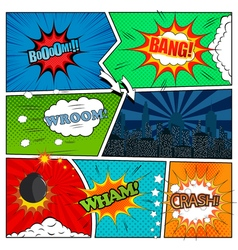 set comic book design elements vector image