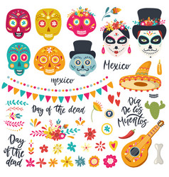 set elements for day dead dia de los vector image