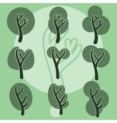 Set of cute doodle trees original cartoon tree vector image