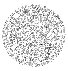set of halloween cartoon objects symbols vector image