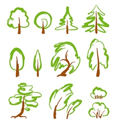 Set of sketchy stylized trees vector image