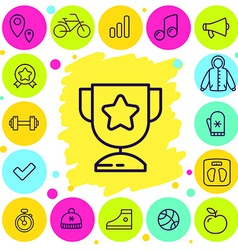 set of sport and award icons vector image