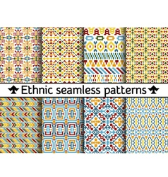 Set of tribal seamless patterns vector