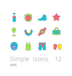 set simple line icons ufc vector image