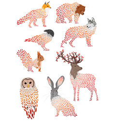 set stylized animals collection cartoon vector image