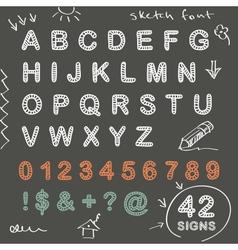 Sketch doodle chalk font vector