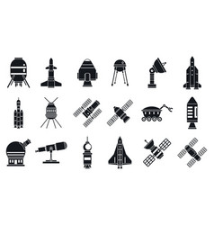 spaceship research technology icons set simple vector image