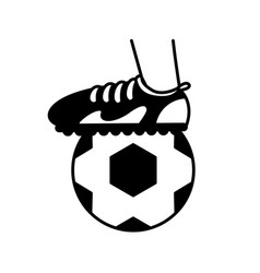 Sport foot with ball soccer block line style vector