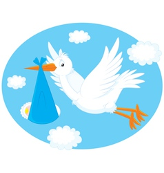 stork with a newborn child vector image