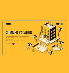 summer vacation isometric web banner vector image