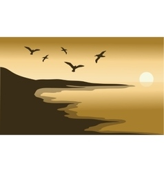 Sunset scenery in beach vector
