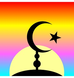 Symbol of Islam on sunset background vector