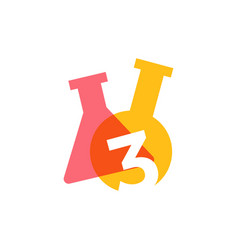 three 3 number lab laboratory glassware beaker vector image