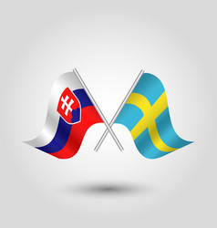 Two crossed slovak and swedish flags vector
