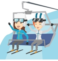 Two happy skiers using cableway at ski resort vector