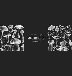 Vintage mushrooms banner on chalkboard edible vector