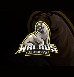 walrus mascot sport logo design vector image
