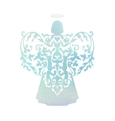 watercolor angel with floral wings and nimbus vector image