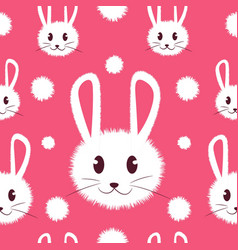 white and cute furry bunny seamless pattern vector image