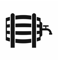 Wooden barrel with tap icon simple style vector