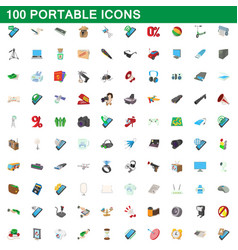100 portable icons set cartoon style vector image vector image