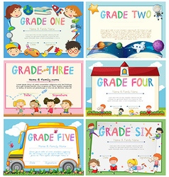 Certificates with education theme background vector
