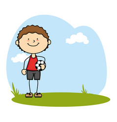 cute boy avatar playing soccer character vector image