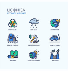 ecology - coloured modern single line icons set vector image